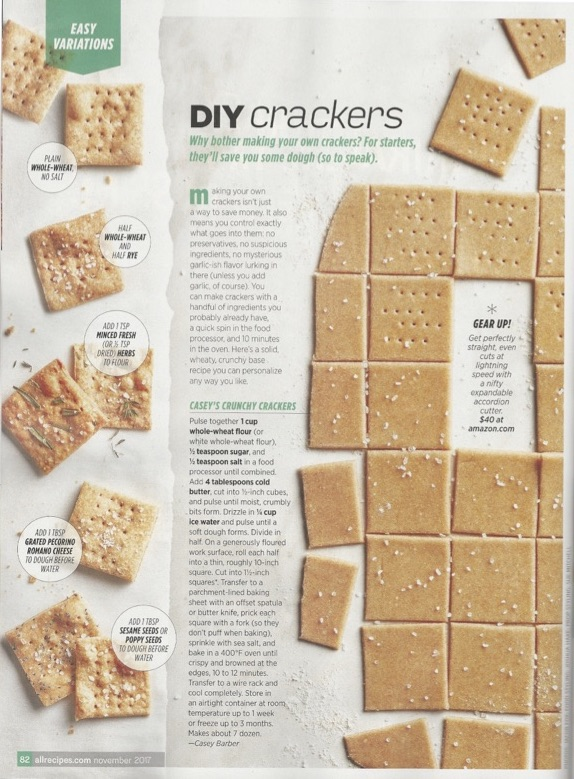 DIY Crackers - Allrecipes Magazine November 2017