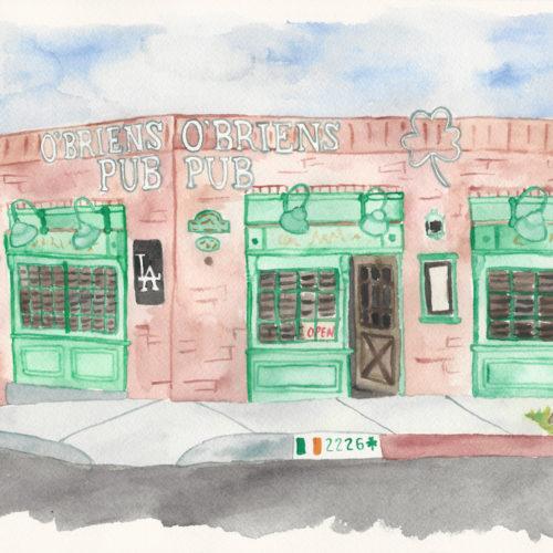 O'Briens Pub in Santa Monica - Illustration by Casey Barber/Good Food Stories LLC