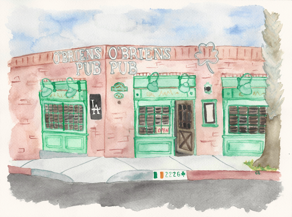 O'Briens Pub in Santa Monica  - Illustration by Casey Barber/Good Food Stories LLC