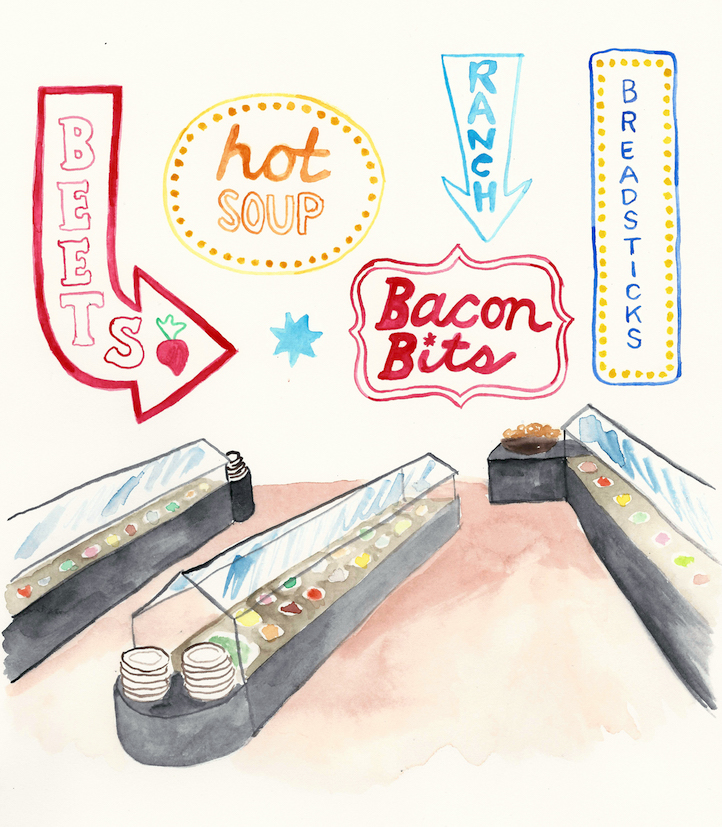 Ode to the Old-School Salad Bar - Illustration by Casey Barber/Good Food Stories LLC