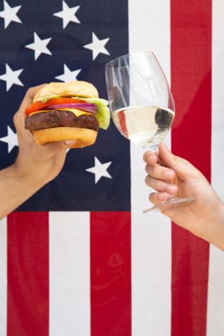 4th of July burger and wine