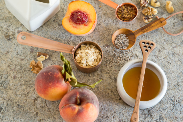 ingredients for peach overnight oats
