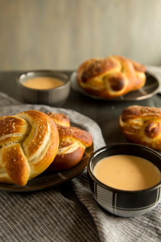 soft pretzels and cheese sauce