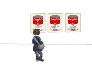 illustration of Warhol's Campbell's Soup Cans in a museum