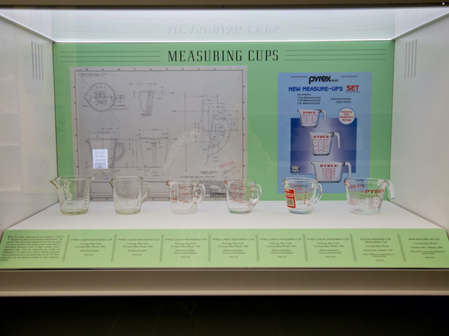 Pyrex measuring cups at the Corning Museum of Glass