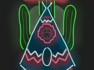 Teepee Curios neon sign illustration